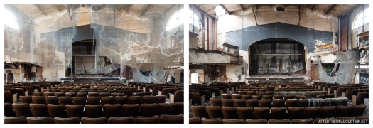 Two photographs of the auditorium taken almost exactly 5 years apart.