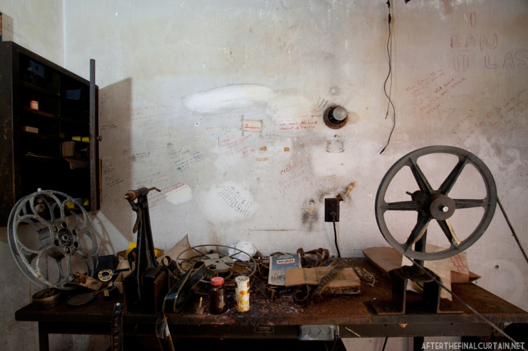 Projection room wall at the Victory Theatre