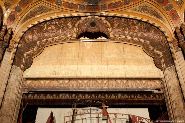 A close up of the proscenium arch.