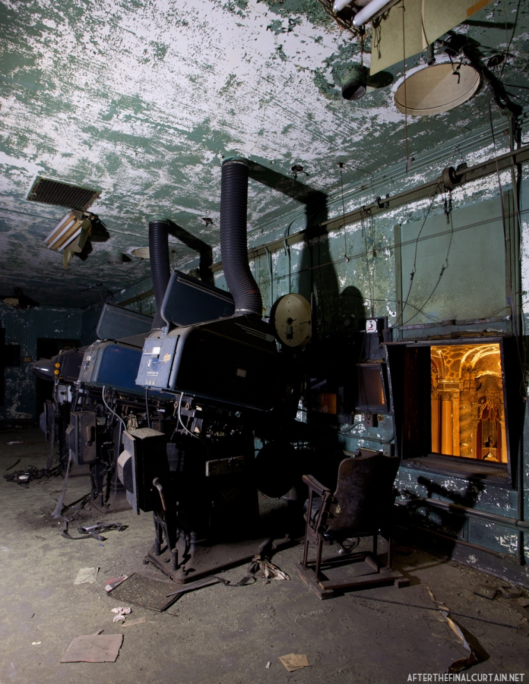 Most of the projection equipment was left behind when the theater closed.