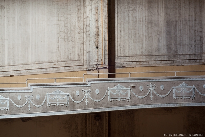 Plaster work on the balcony level of the Charles Theatre