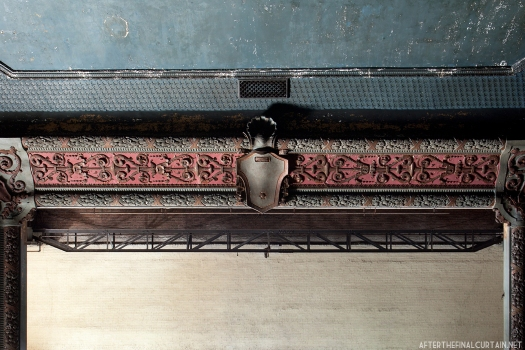 The proscenium arch was untouched during auditorium's conversion into an office space.