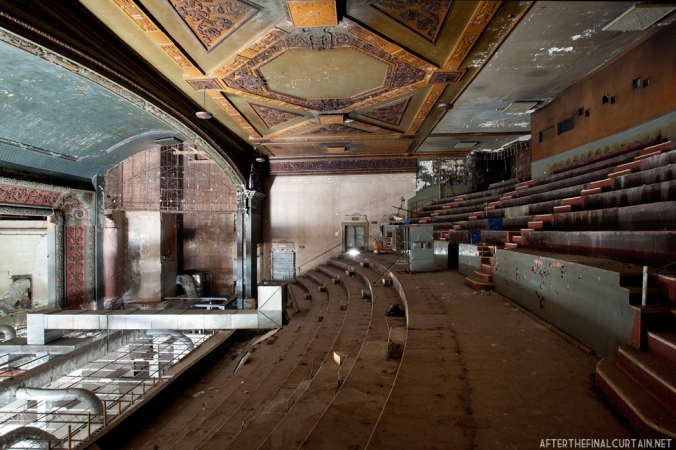 The seats were removed shortly after the theater closed due to an issue in the buildings fire insurance policy.