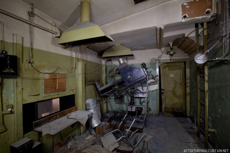 Only one projector remains in the projector room.