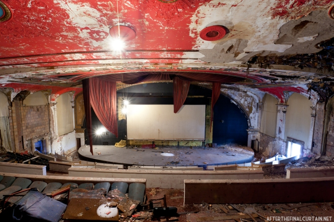 The proscenium arch was covered up during the 1977 triplexing of the theater.