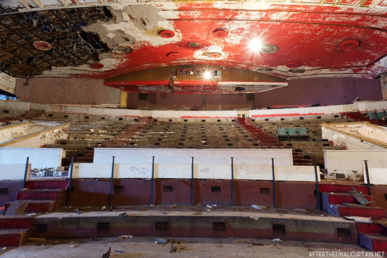 View of the back of the balcony auditorium from the stage.