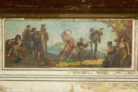A closeup of the mural in the theater's foyer.