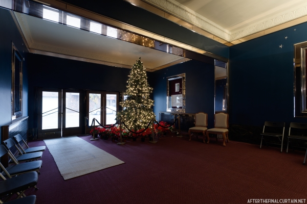 The lobby is completely restored and decorated for the holidays.
