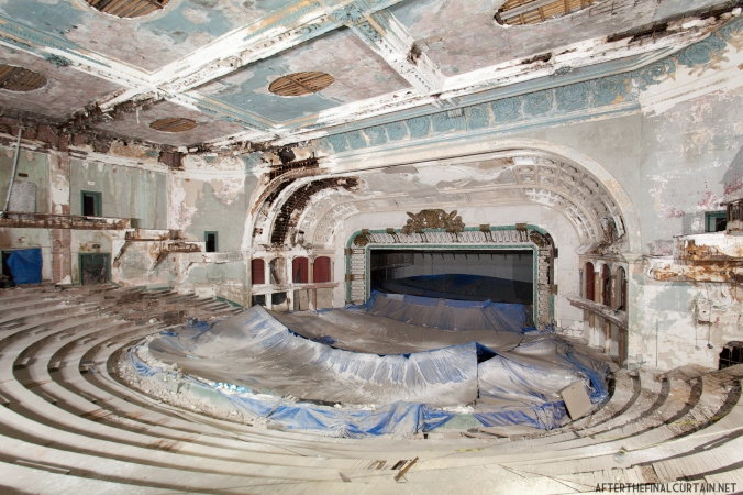 View of the auditorium from the side of the upper balcony.