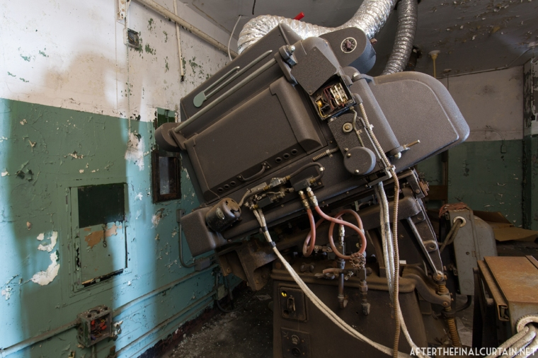Some of the projection equipment remains after the theater closed.