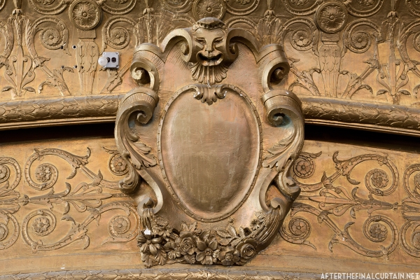 A close up of the proscenium.