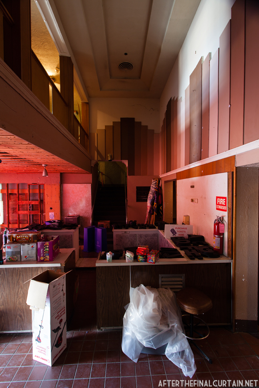 The lobby is currently used for storage.