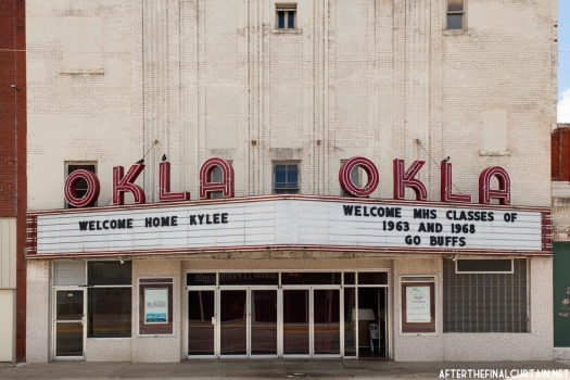 When the original marquee was replaced in 1948,  two of the windows on the front of the building were bricked over.