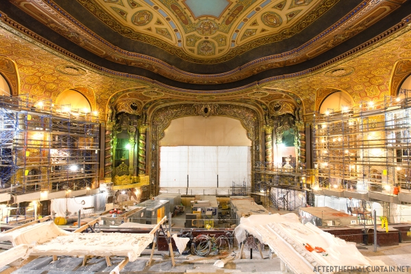 View from the balcony of the Loew's Kings Theatre during renovation.