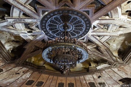 A close up of the auditorium's chandelier.