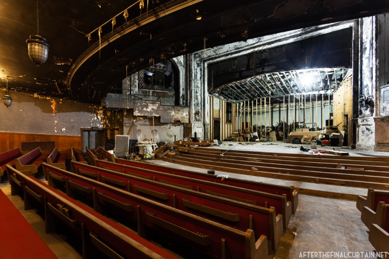 The seats on the main level were replaced with pews when the theater was converted into a church.