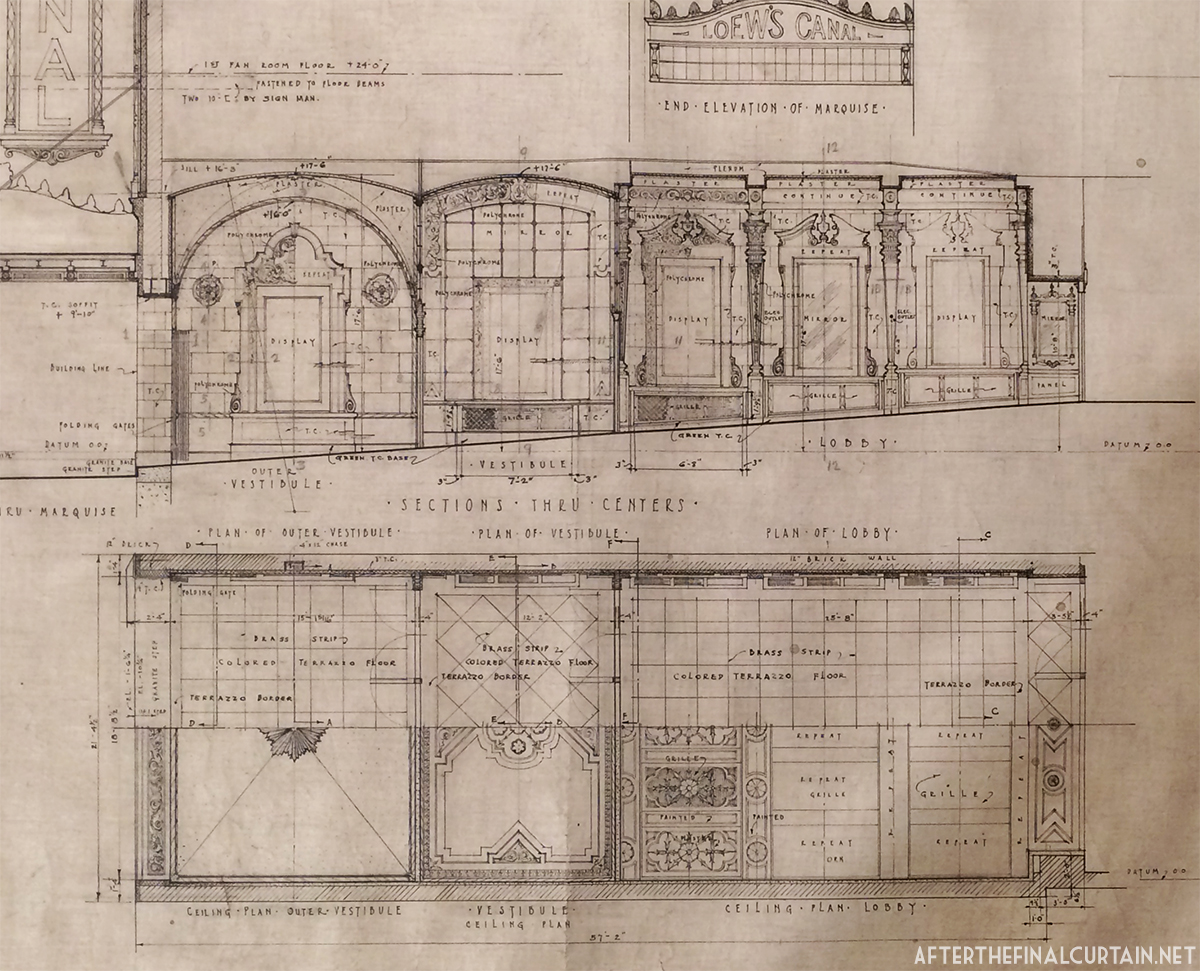 Loews canal theatre after the final curtain blueprints of the vestibule and lobby areas malvernweather Images