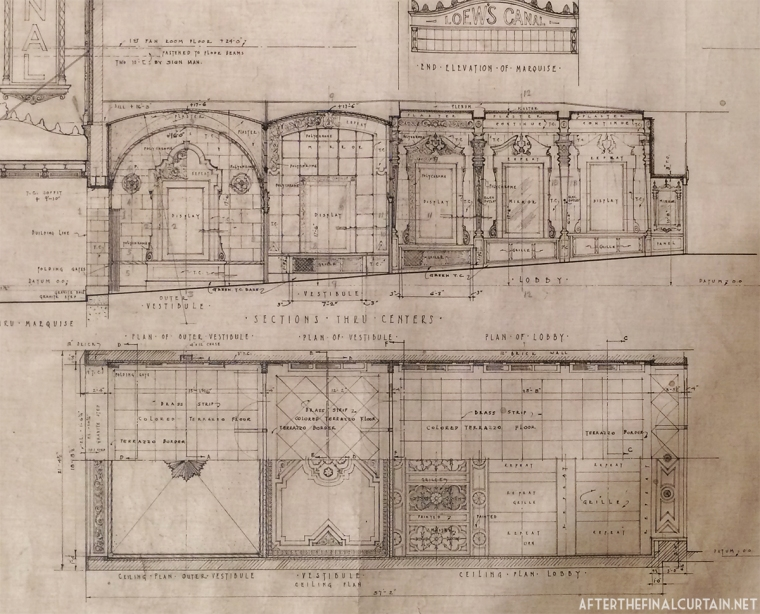 Blueprints of the vestibule and lobby areas.