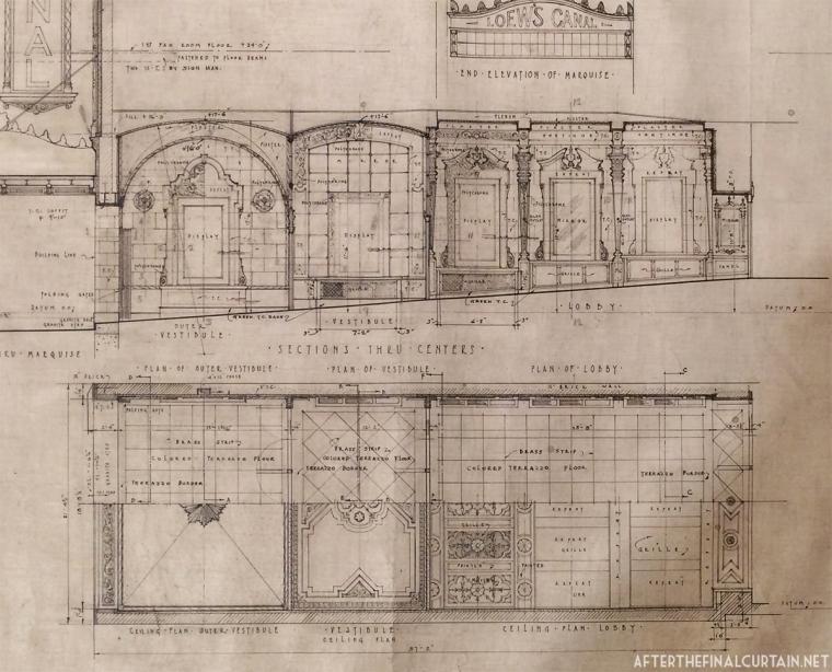 Blueprints of the vestibule and lobby areas.