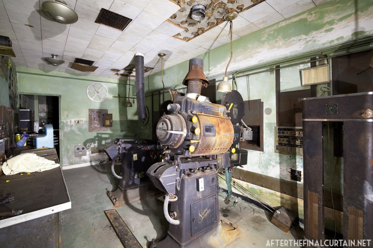 Much of the projection equipment was left behind when the theater closed.