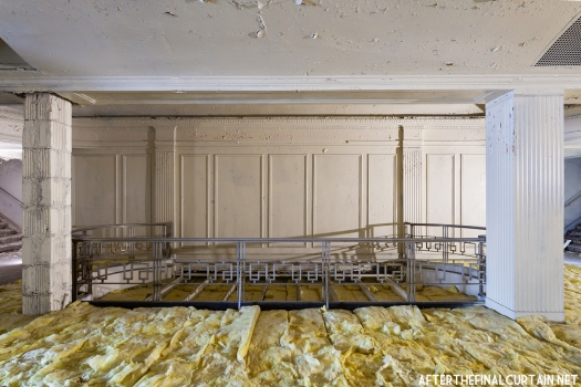 Much of the floor in both the balcony, and the lobby mezzanine is covered with insulation.