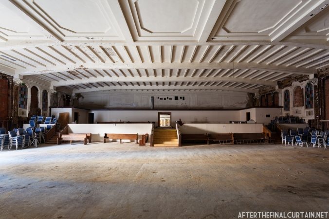 The auditorium floor was leveled in 1963 when it was converted into a dinner theater.