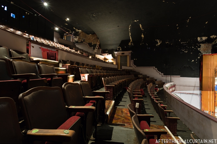 The auditorium ceiling was painted a flat black during the remodel in 1970.