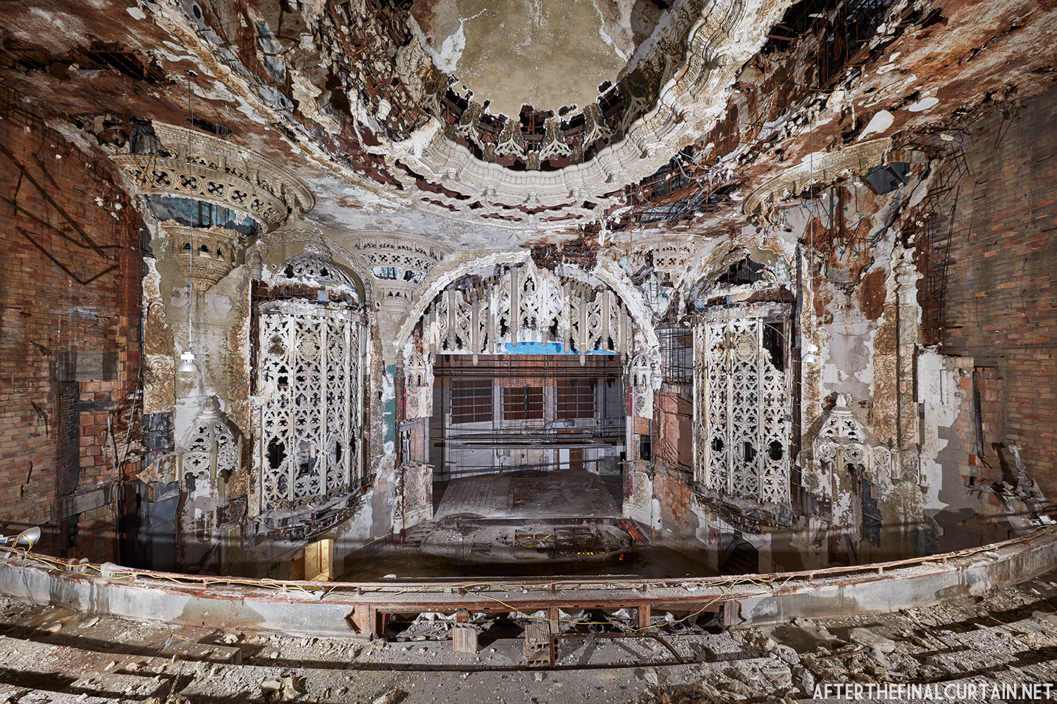 Decaying auditorium of the United Artists Theatre in Detroit