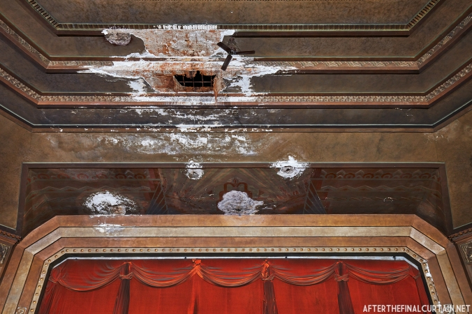The proscenium arch of the Drake Theatre in Oil City, PA was damaged due to a leak in the roof.